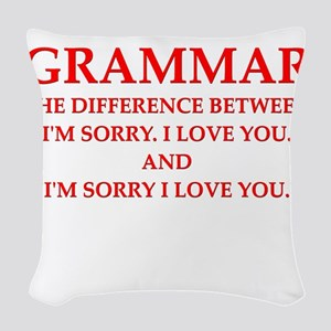 grammar Woven Throw Pillow