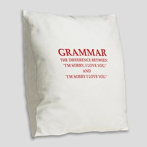 grammar Burlap Throw Pillow