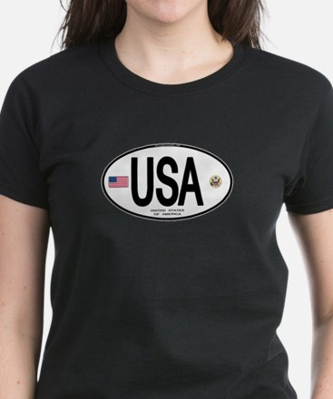 USA Euro-style Country Code Women's Dark T-Shirt