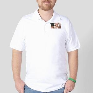 Vintage Distressed MERICA Flag Golf Shirt