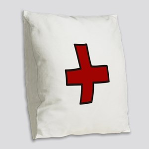 Red Cross Burlap Throw Pillow