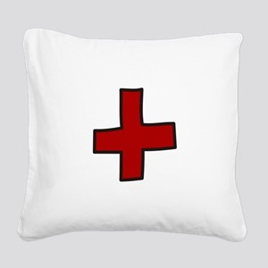 Red Cross Square Canvas Pillow