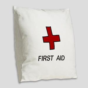 First Aid Burlap Throw Pillow