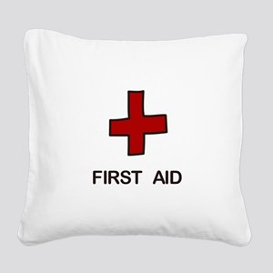 First Aid Square Canvas Pillow