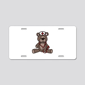 Nurse Teddy Bear Aluminum License Plate