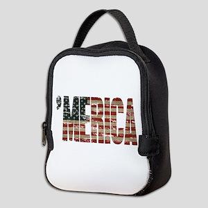 Vintage Distressed MERICA Flag Neoprene Lunch Bag