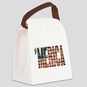 Vintage Distressed MERICA Flag Canvas Lunch Bag