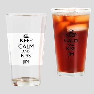 Keep Calm and Kiss Jim Drinking Glass