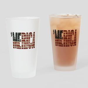 Vintage Distressed MERICA Flag Drinking Glass