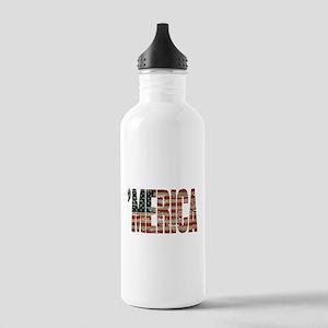 Vintage Distressed MERICA Flag Water Bottle