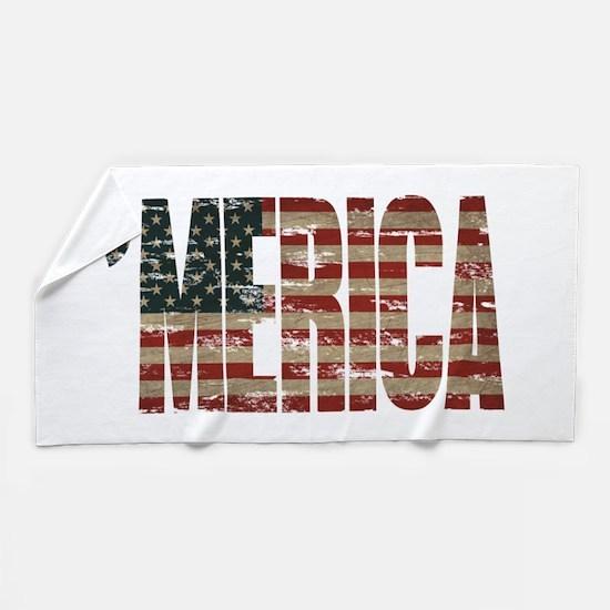 Vintage Distressed MERICA Flag Beach Towel