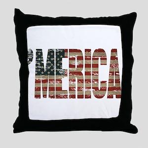 Vintage Distressed MERICA Flag Throw Pillow