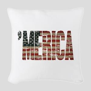 Vintage Distressed MERICA Flag Woven Throw Pillow