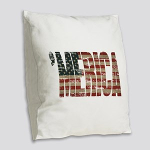 Vintage Distressed MERICA Flag Burlap Throw Pillow