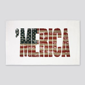 Vintage Distressed MERICA Flag 3'x5' Area Rug