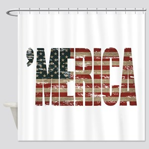 Vintage Distressed MERICA Flag Shower Curtain