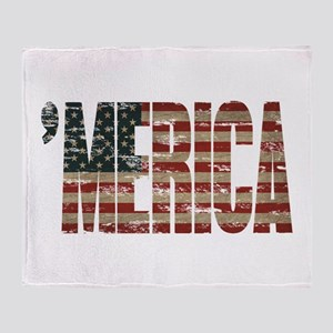 Vintage Distressed MERICA Flag Throw Blanket