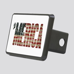 Vintage Distressed MERICA Flag Hitch Cover