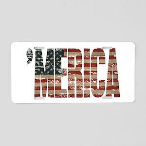 Vintage Distressed MERICA Flag Aluminum License Pl