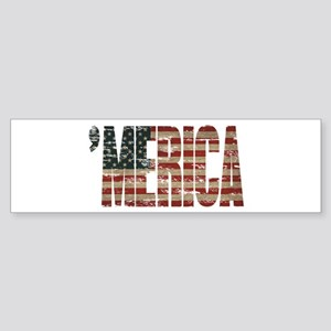 Vintage Distressed MERICA Flag Bumper Sticker