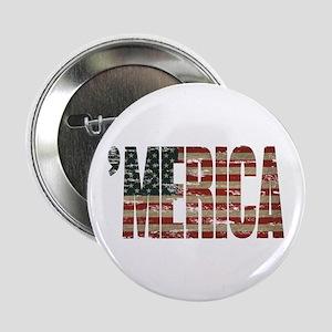 "Vintage Distressed MERICA Flag 2.25"" Button"