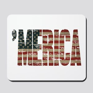 Vintage Distressed MERICA Flag Mousepad