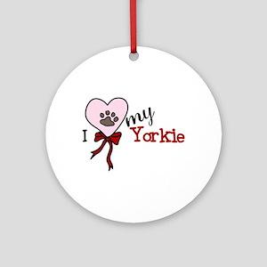 Love My Yorkie Ornament (Round)