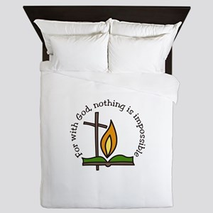 For With God, nothing is impossible Queen Duvet