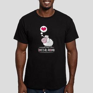 Love is all around Men's Fitted T-Shirt (dark)