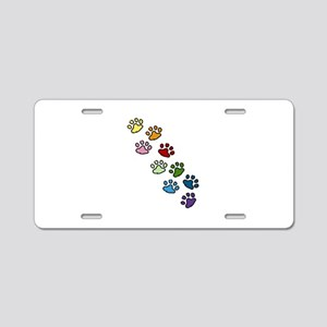 Paw Prints Aluminum License Plate