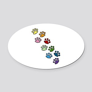 Paw Prints Oval Car Magnet