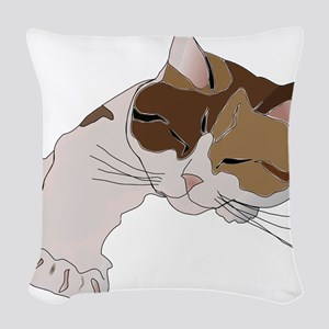Calico Cat Sleeping Woven Throw Pillow
