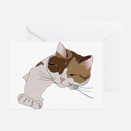 Calico Cat Sleeping Greeting Cards