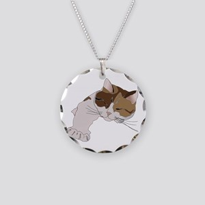 Calico Cat Sleeping Necklace Circle Charm