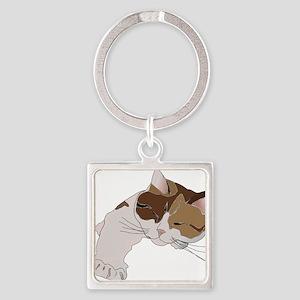 Calico Cat Sleeping Keychains