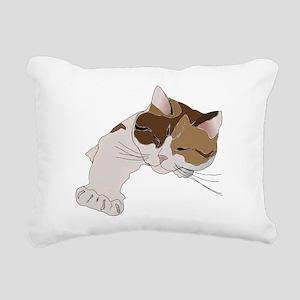 Calico Cat Sleeping Rectangular Canvas Pillow