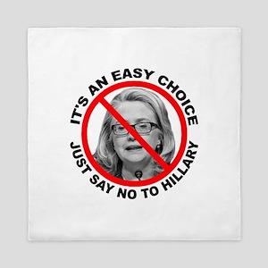 Say No to Hillary Clinton Queen Duvet