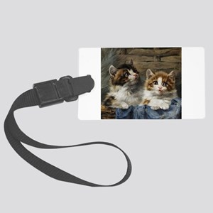 Two lovely kittens in a basket Large Luggage Tag