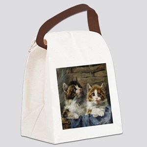 Two lovely kittens in a basket Canvas Lunch Bag