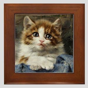 Portrait of a kitten painted by Julius Adam Framed
