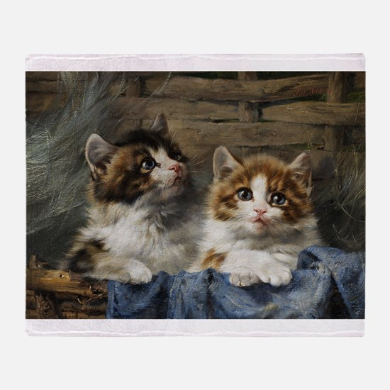 Two Kittens In A Basket Painting Throw Blanket