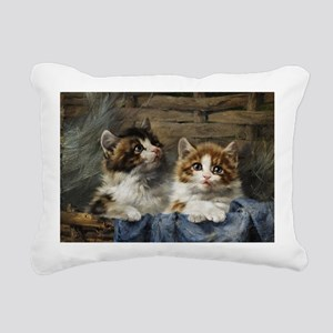 Two kittens in a basket painting Rectangular Canva