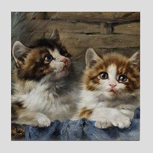 Two lovely kittens in a basket Tile Coaster