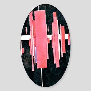 Suprematist Arkhitekton in Red, Vit Sticker (Oval)