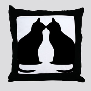 Black cats silhouette Throw Pillow