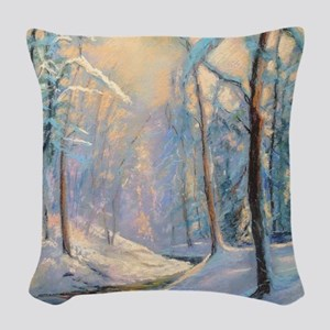 Winter brook pastel Woven Throw Pillow