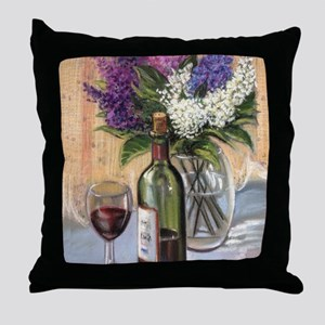 Glass of wine and lilac Throw Pillow