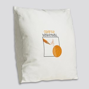 Orange Basketball Burlap Throw Pillow