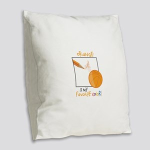 My Favorite Color Burlap Throw Pillow