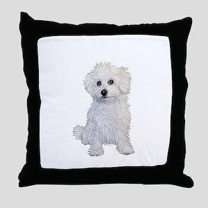 Bolognese Puppy Throw Pillow